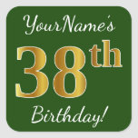 [ Thumbnail: Green, Faux Gold 38th Birthday + Custom Name Sticker ]