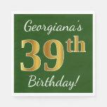 [ Thumbnail: Green, Faux Gold 39th Birthday + Custom Name Napkin ]