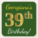 [ Thumbnail: Green, Faux Gold 39th Birthday + Custom Name Paper Coaster ]