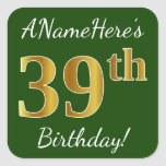 [ Thumbnail: Green, Faux Gold 39th Birthday + Custom Name Sticker ]