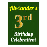 [ Thumbnail: Green, Faux Gold 3rd Birthday Celebration + Name Invitation ]