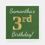 [ Thumbnail: Green, Faux Gold 3rd Birthday + Custom Name Napkin ]