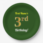 [ Thumbnail: Green, Faux Gold 3rd Birthday + Custom Name Paper Plate ]