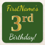 [ Thumbnail: Green, Faux Gold 3rd Birthday + Custom Name Paper Coaster ]