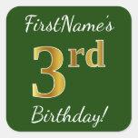 [ Thumbnail: Green, Faux Gold 3rd Birthday + Custom Name Sticker ]