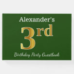 [ Thumbnail: Green, Faux Gold 3rd Birthday Party + Custom Name Guest Book ]