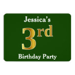 [ Thumbnail: Green, Faux Gold 3rd Birthday Party + Custom Name Invitation ]