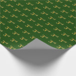 Hand shaped Green, Faux Gold 3rd (Third) Event   Custom Names Wrapping Paper