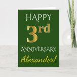 [ Thumbnail: Green, Faux Gold 3rd Wedding Anniversary + Name Card ]