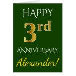 [ Thumbnail: Green, Faux Gold 3rd Wedding Anniversary + Name Card ]