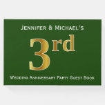 [ Thumbnail: Green, Faux Gold 3rd Wedding Anniversary Party Guest Book ]