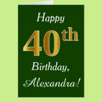 Green, Faux Gold 40th Birthday   Custom Name Card