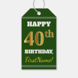 [ Thumbnail: Green, Faux Gold 40th Birthday + Custom Name Gift Tags ]