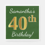 [ Thumbnail: Green, Faux Gold 40th Birthday + Custom Name Paper Napkin ]