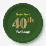 [ Thumbnail: Green, Faux Gold 40th Birthday + Custom Name Paper Plate ]