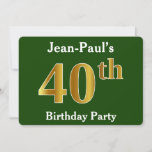 [ Thumbnail: Green, Faux Gold 40th Birthday Party + Custom Name Invitation ]
