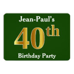 [ Thumbnail: Green, Faux Gold 40th Birthday Party + Custom Name Invitation ]