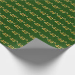 [ Thumbnail: Green, Faux Gold 40th (Fortieth) Event Wrapping Paper ]