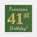 [ Thumbnail: Green, Faux Gold 41st Birthday + Custom Name Napkin ]