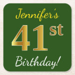 [ Thumbnail: Green, Faux Gold 41st Birthday + Custom Name Paper Coaster ]