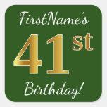 [ Thumbnail: Green, Faux Gold 41st Birthday + Custom Name Sticker ]