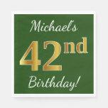 [ Thumbnail: Green, Faux Gold 42nd Birthday + Custom Name Napkin ]