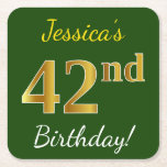 [ Thumbnail: Green, Faux Gold 42nd Birthday + Custom Name Paper Coaster ]