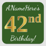 [ Thumbnail: Green, Faux Gold 42nd Birthday + Custom Name Sticker ]