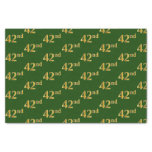 [ Thumbnail: Green, Faux Gold 42nd (Forty-Second) Event Tissue Paper ]