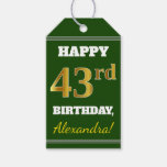 [ Thumbnail: Green, Faux Gold 43rd Birthday + Custom Name Gift Tags ]