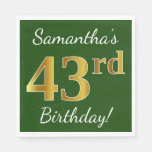 [ Thumbnail: Green, Faux Gold 43rd Birthday + Custom Name Napkin ]