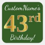 [ Thumbnail: Green, Faux Gold 43rd Birthday + Custom Name Sticker ]