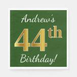 [ Thumbnail: Green, Faux Gold 44th Birthday + Custom Name Napkin ]