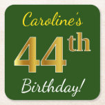 [ Thumbnail: Green, Faux Gold 44th Birthday + Custom Name Paper Coaster ]