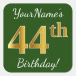 [ Thumbnail: Green, Faux Gold 44th Birthday + Custom Name Sticker ]