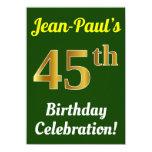 [ Thumbnail: Green, Faux Gold 45th Birthday Celebration + Name Invitation ]
