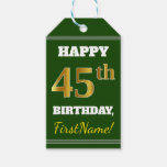 [ Thumbnail: Green, Faux Gold 45th Birthday + Custom Name Gift Tags ]