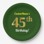 [ Thumbnail: Green, Faux Gold 45th Birthday + Custom Name Paper Plate ]