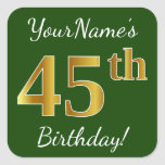 [ Thumbnail: Green, Faux Gold 45th Birthday + Custom Name Sticker ]