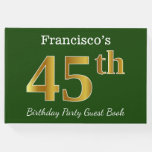 [ Thumbnail: Green, Faux Gold 45th Birthday Party + Custom Name Guest Book ]
