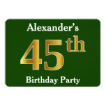 [ Thumbnail: Green, Faux Gold 45th Birthday Party + Custom Name Invitation ]