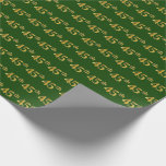 [ Thumbnail: Green, Faux Gold 45th (Forty-Fifth) Event Wrapping Paper ]