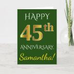 [ Thumbnail: Green, Faux Gold 45th Wedding Anniversary + Name Card ]