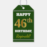 [ Thumbnail: Green, Faux Gold 46th Birthday + Custom Name Gift Tags ]