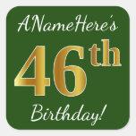 [ Thumbnail: Green, Faux Gold 46th Birthday + Custom Name Sticker ]
