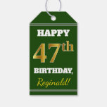 [ Thumbnail: Green, Faux Gold 47th Birthday + Custom Name Gift Tags ]