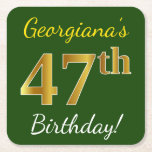 [ Thumbnail: Green, Faux Gold 47th Birthday + Custom Name Paper Coaster ]