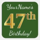 [ Thumbnail: Green, Faux Gold 47th Birthday + Custom Name Sticker ]