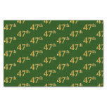 [ Thumbnail: Green, Faux Gold 47th (Forty-Seventh) Event Tissue Paper ]