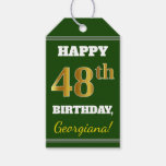 [ Thumbnail: Green, Faux Gold 48th Birthday + Custom Name Gift Tags ]